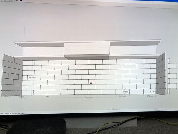 Only included to show the finished concept (ignore the range hood and shelves above)