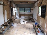 I removed all of the interior lining, something I wouldn't recommend for a sandwich panel caravan knowing what I know now. Old vinyl floor also taken up in strips