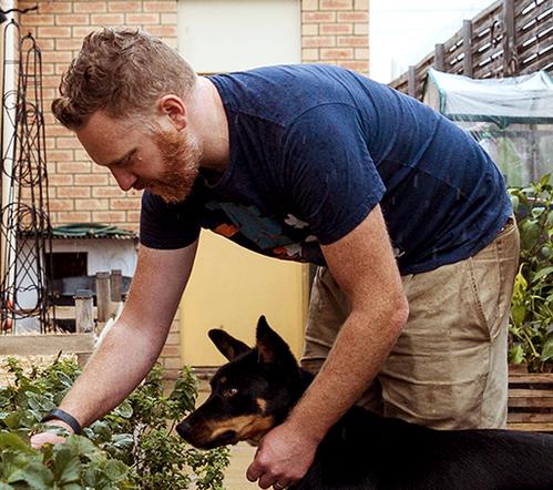 Tim loves growing his own food.