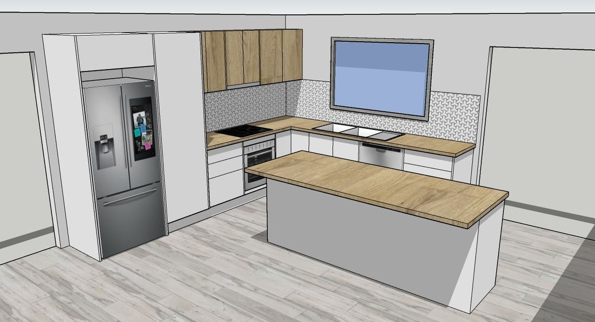 Drawers next to the cooktop and oven.