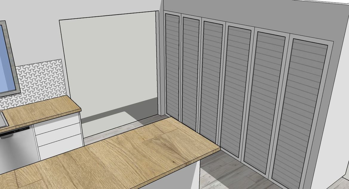 Louver doors to hide all that laundry stuff.
