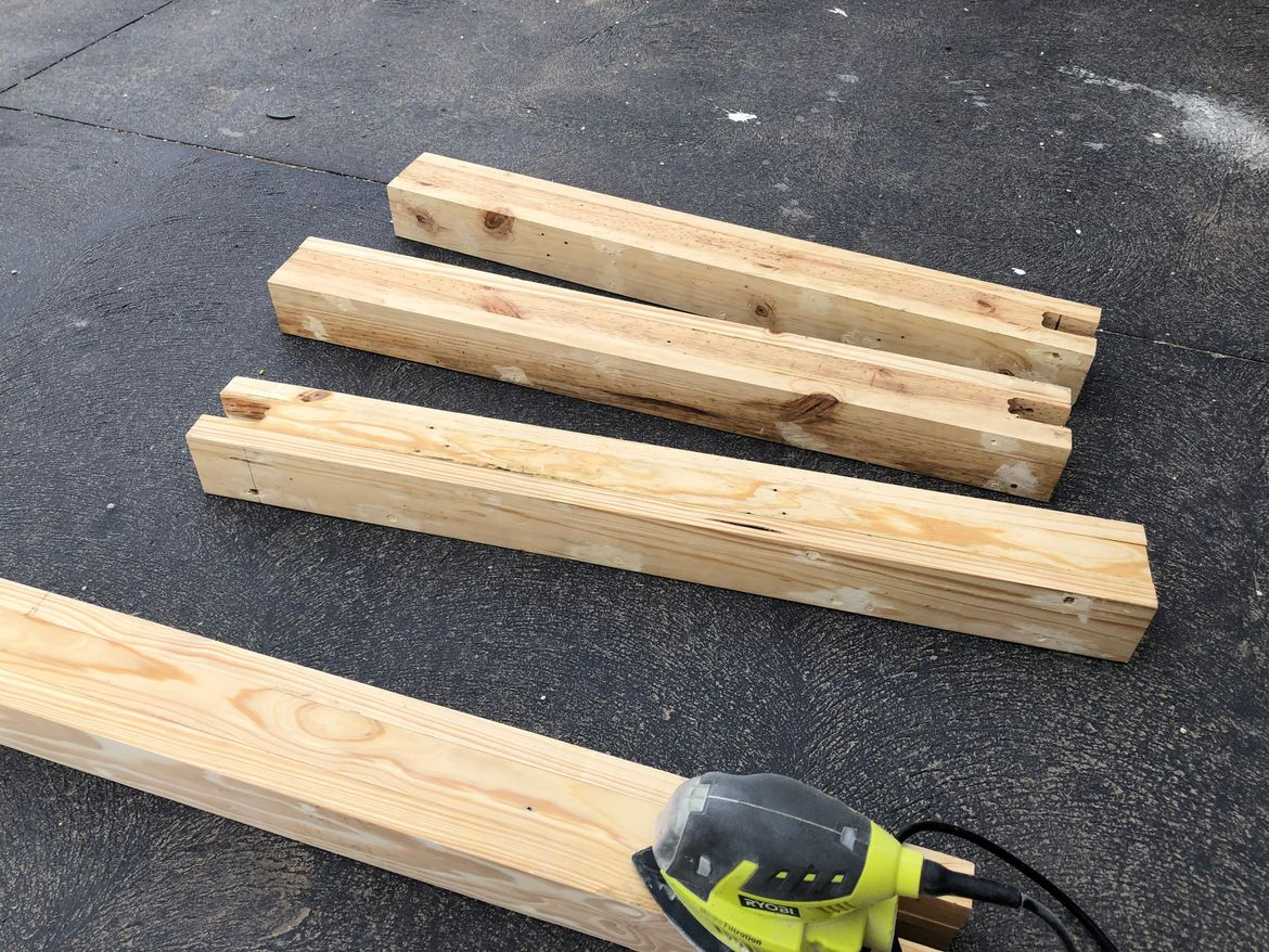 Legs built from 4 boards to create a more fuller/solid look.
