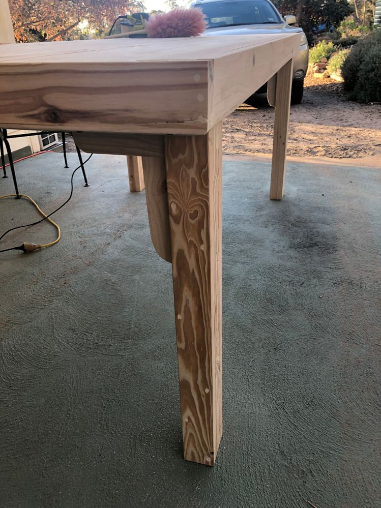 Adding strengthening to make the table more stable. Corner pieces have been hand made and curved with rasp and sander.