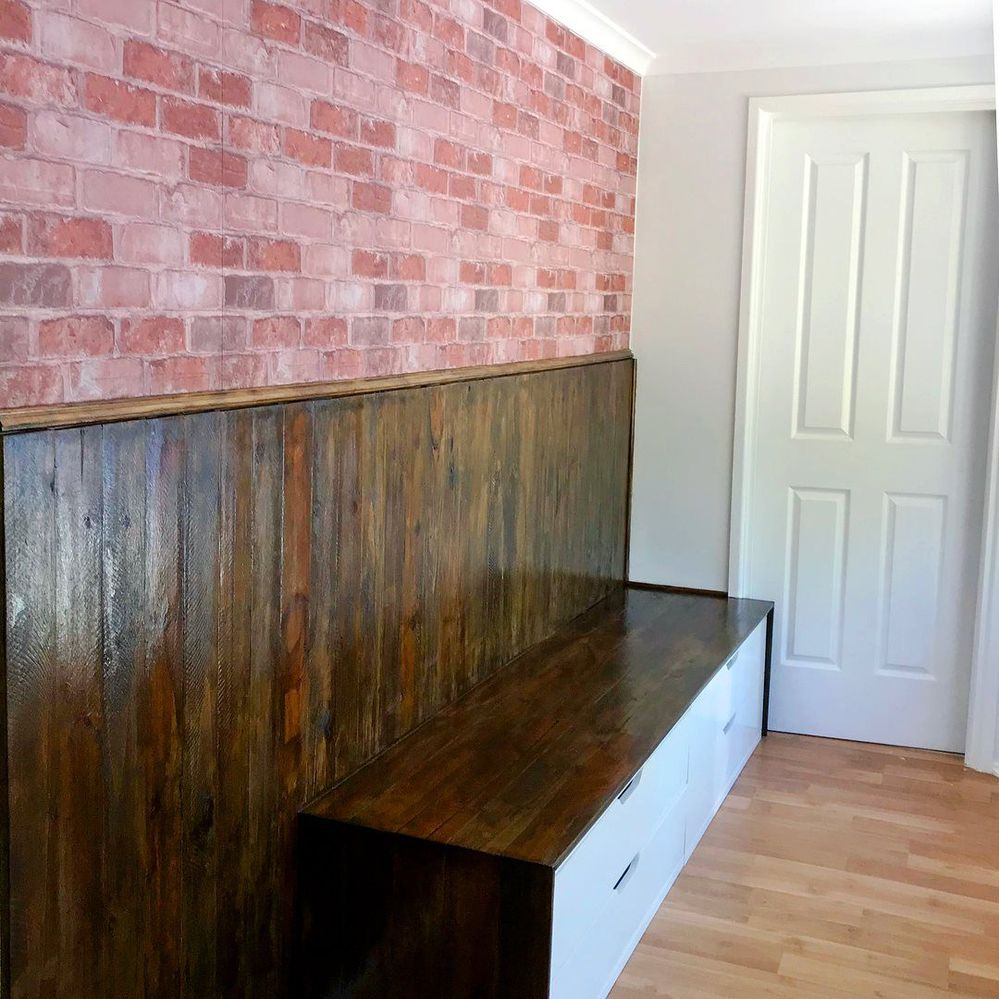 wall cladding and benchtop in japanese black stain