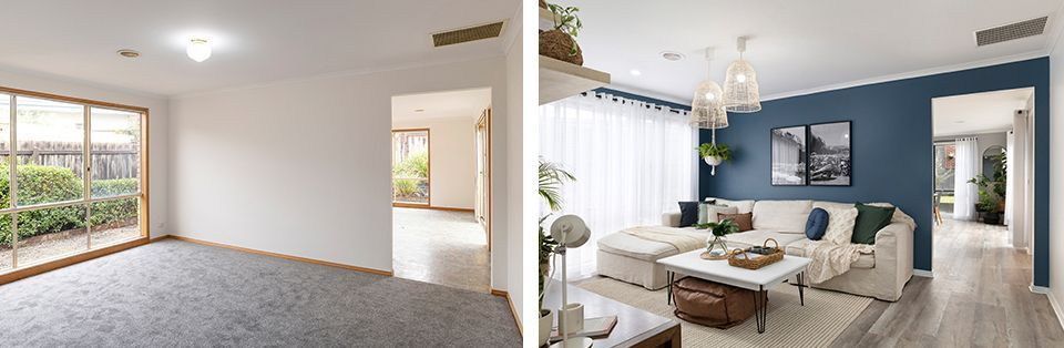 Before and after lounge makeover