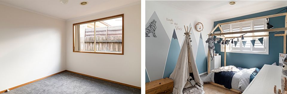 Before and after kids bedroom makeover