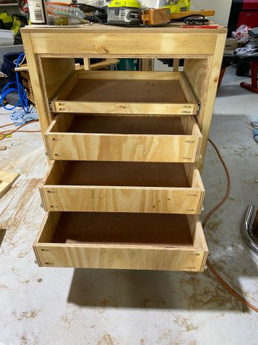 Drawers installed