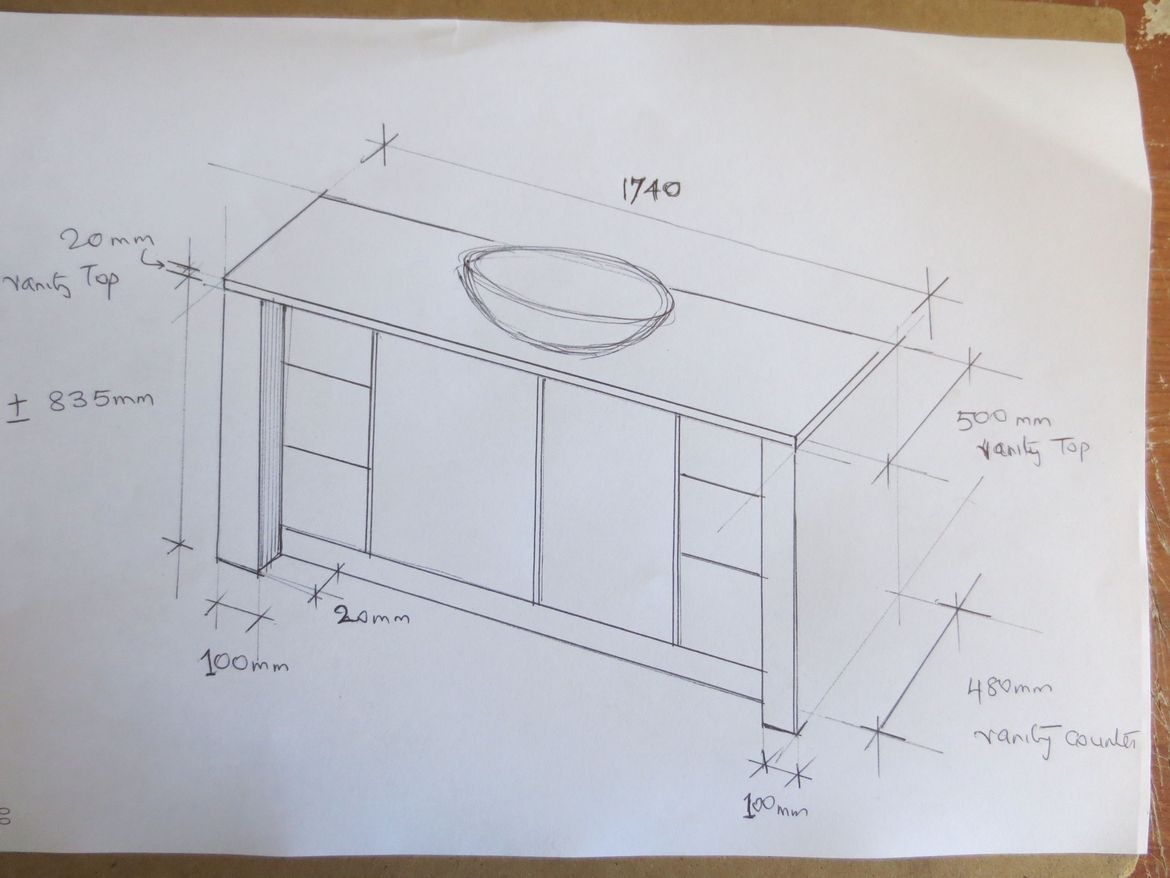 Sketch of new vanity which require flat pack option