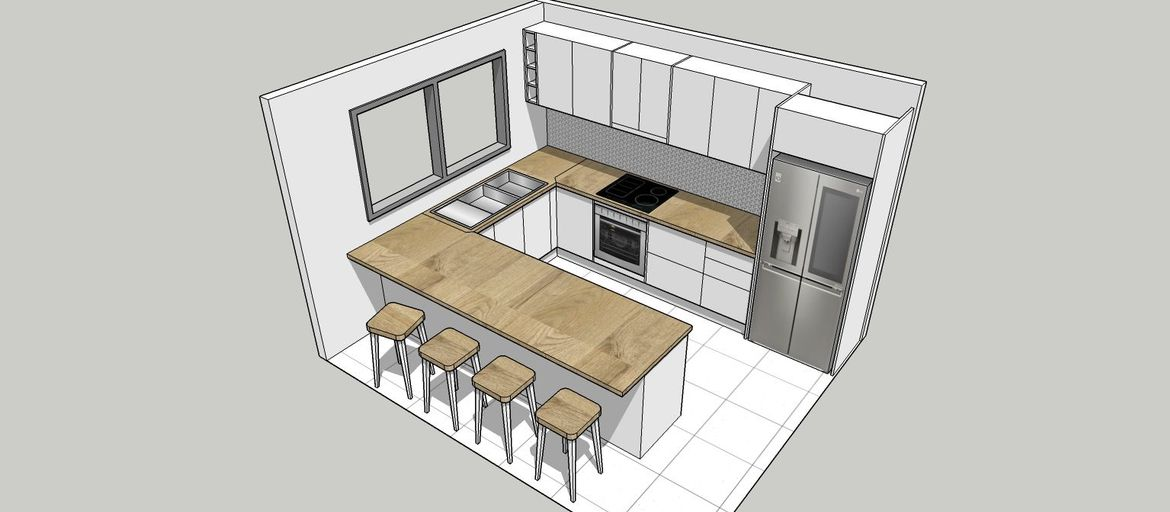 """Standard extension in """"U"""" shape, but move to the sink to the window to open up the breakfast bar area."""