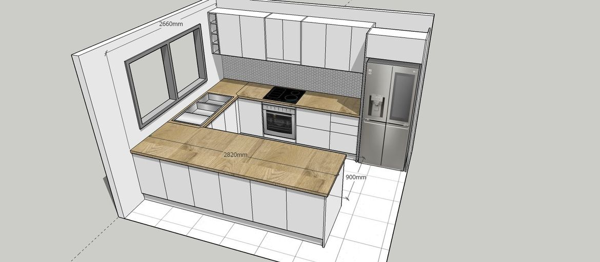 This version with cabinets placed in front of the breakfast bar for full space use.