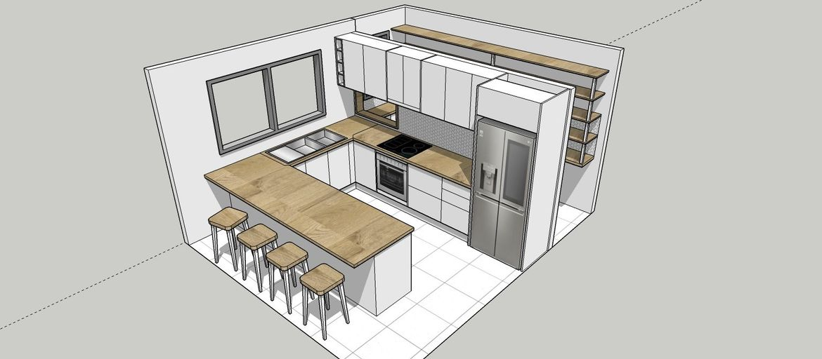 Move the entire kitchen 1100 mm forward to create a walk in pantry at the back of your kitchen and a servery window through the dividing wall.