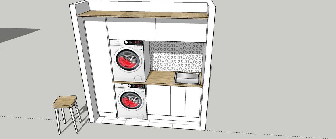 Yes the dryer can go on the bench top. Please make sure to tell your builder so that they will reinforce the fiting of the bench top.