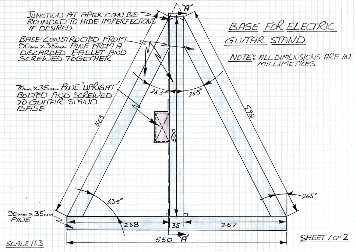 Plan view of guitar stand base with dimensions.