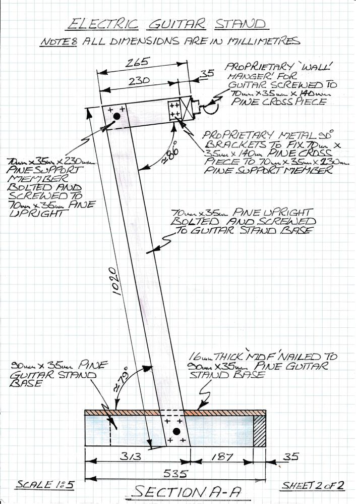 Sectional (A-A) view of guitar stand with dimensions.