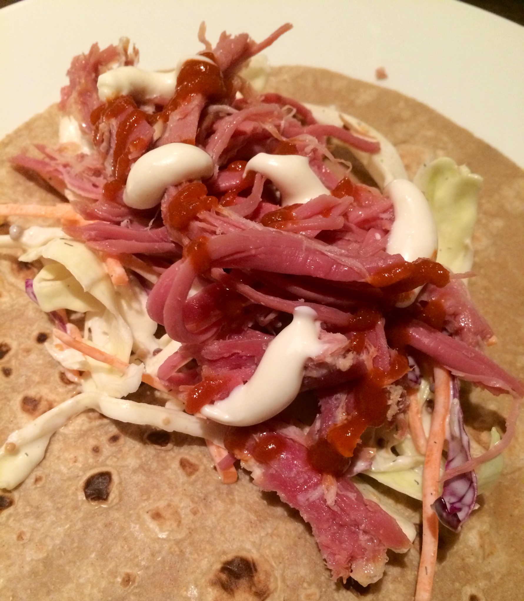 Sriracha coleslaw and corned beef wraps