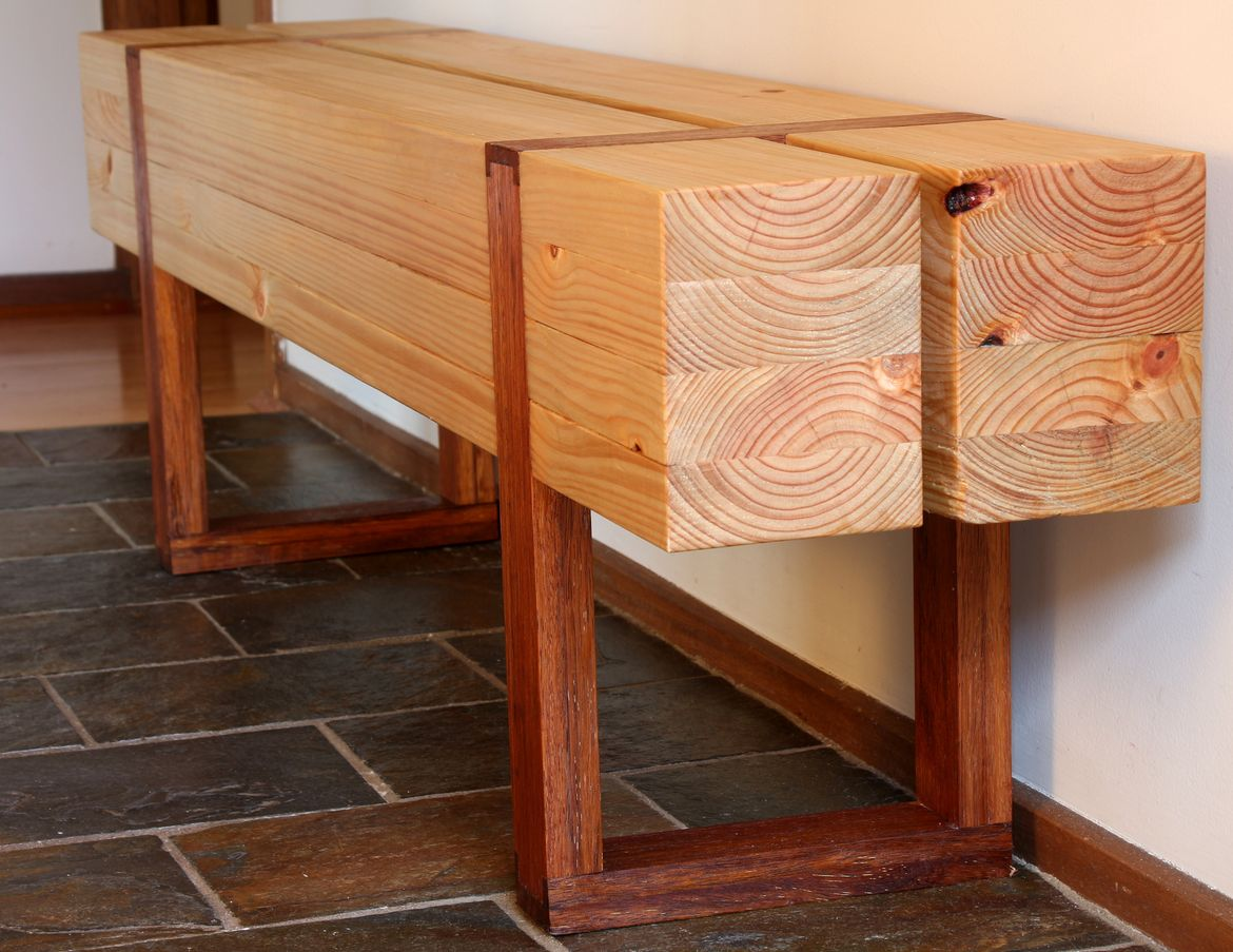 Structural pine and scrap merbau deck wood bench seat. 100% made with handtools!