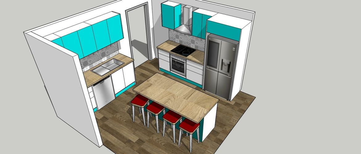 Turquoise was all the rage back then and looks even more vouge with modern cabinets.