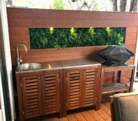 Merbau feature wall with vertical garden