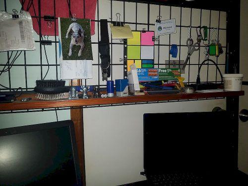 setup a mini-self using one sided shelf rack.