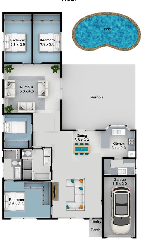 Floor plan (with walls knocked out)