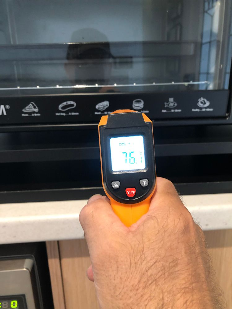 Temperature between oven and top section of stand before air gap 76 deg C