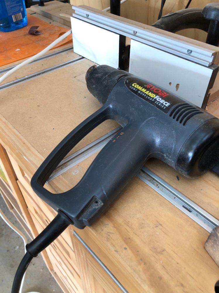 Heat gun used to install edging