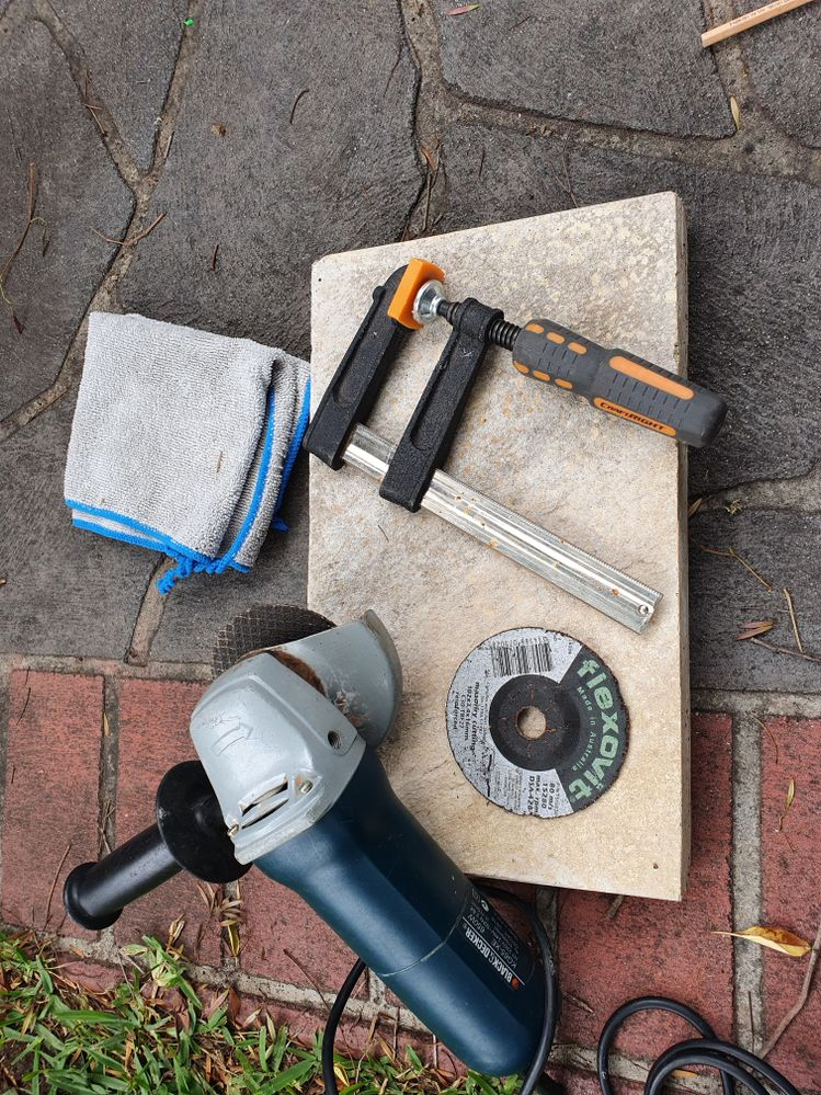 Tools you will need, the Grinder was black and decker, nit sure if they sell these anymore.
