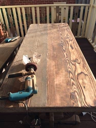 Eric is currently restoring this outdoor table.