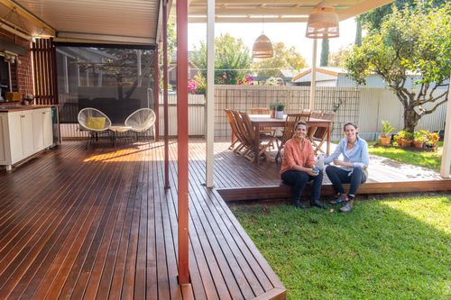 DIYgals built a deck and pergola for entertaining.