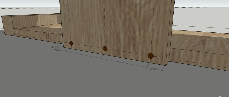 Suggested spot for screws for bottom base panel.