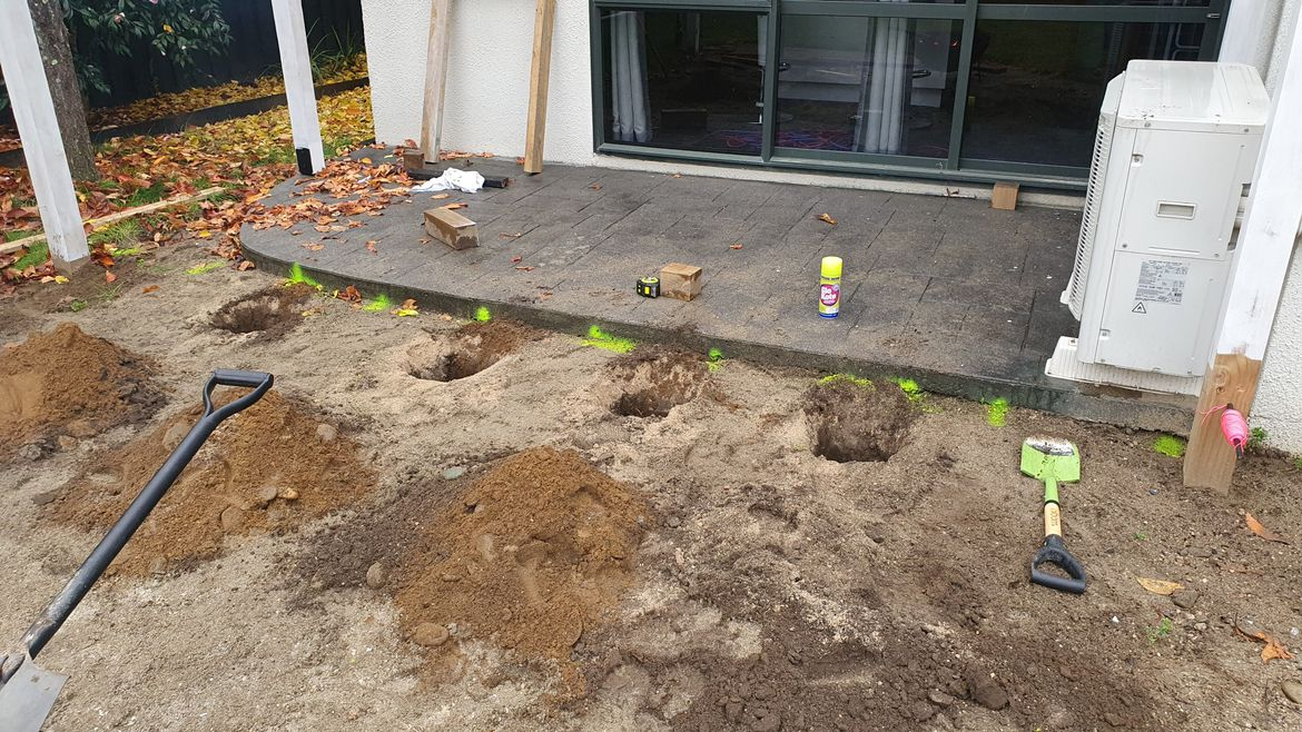 Holes for decking posts