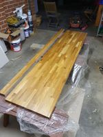 Cutting the bench top. I also varnish the wood to prevent water damage.