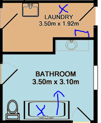 Floor plan of bathroom and laundry