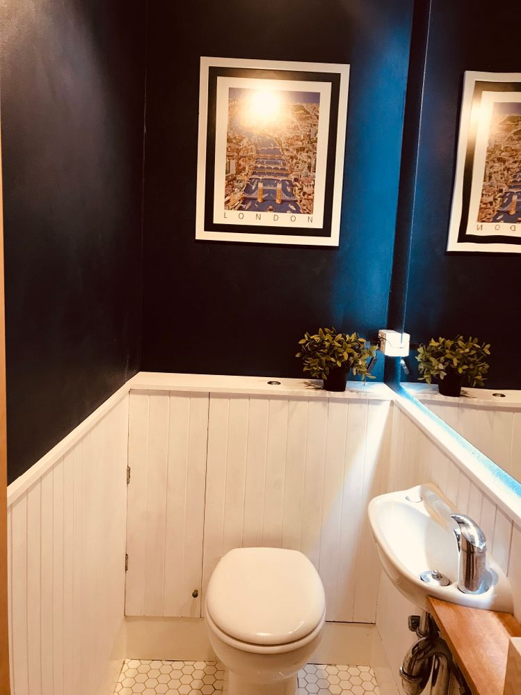Add the colour and light into this small toilet