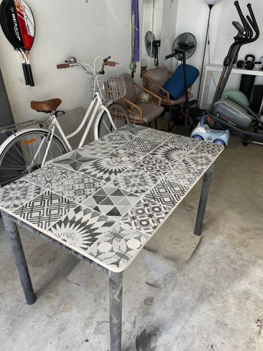 Table after using the angle grinder