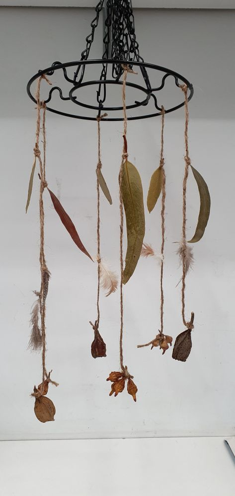 Nature mobile using plant stand and jute