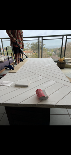 We glued down the panels and hammered in the pine panels in place and let it set overnight.