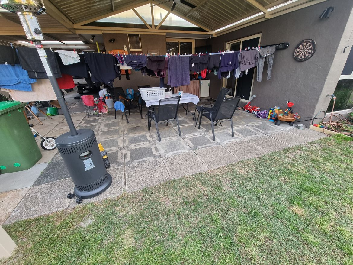 messy patio area