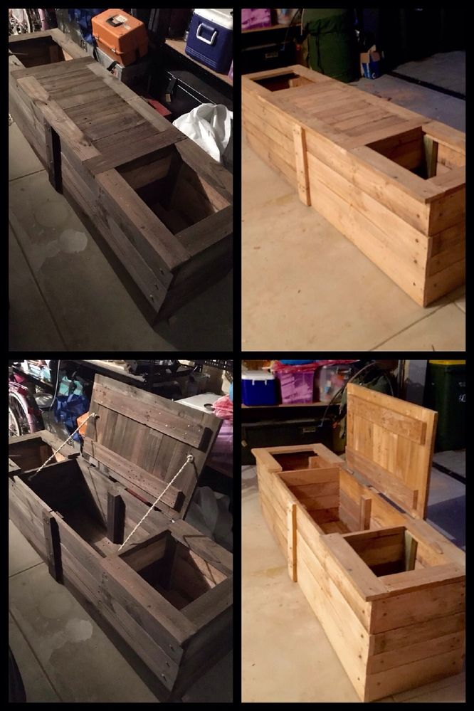Pallet bench seat with underneath storage + Planter box each side