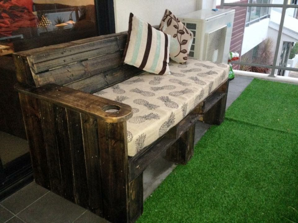 Reclaimed Pallet into bench seat, fabricated with cushions