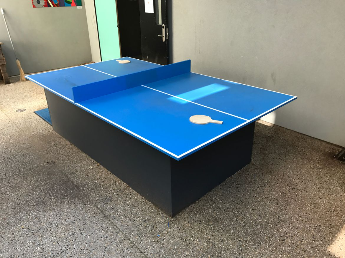 Outdoor table tennis table my students and I built