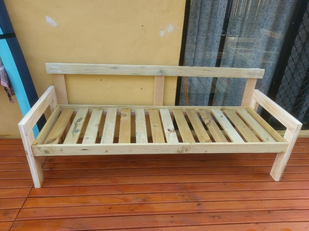 Outdoor sofa I made from left over and bent decking timber.