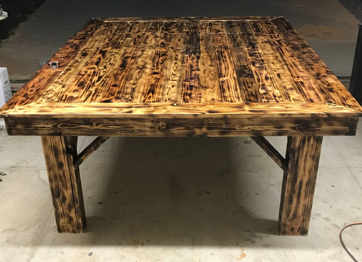 "Recycled Pallet ""Monster"" Outdoor Table, *wood burn effect*"