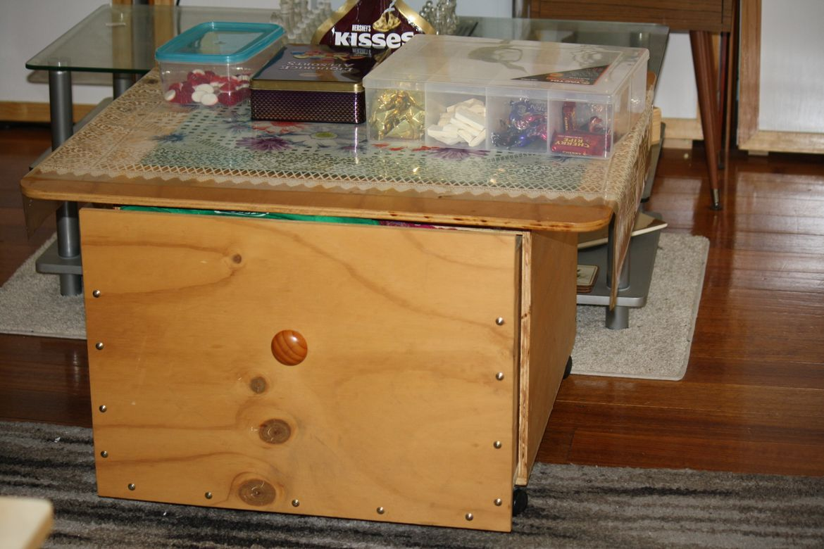 A Coffee Table with large Draw for my Mother , pre-injury .