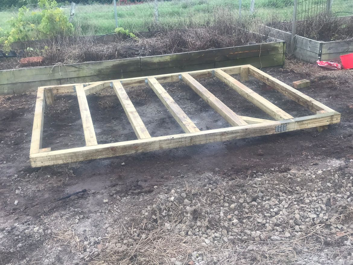 The framing got concreted in with quick set mix, propped up to get it nice and level
