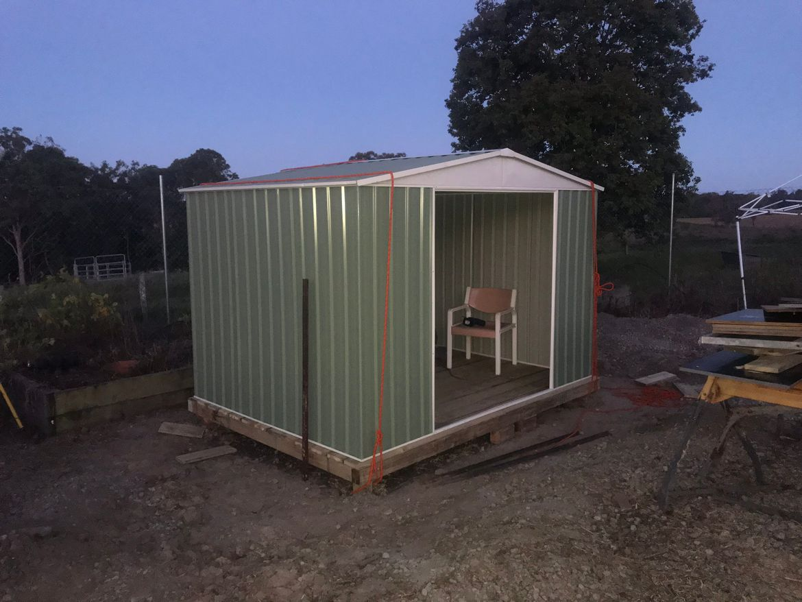 The shed was finally assembled in place