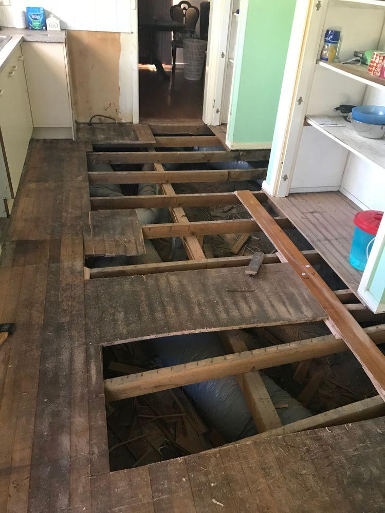 floor rotten water in timber