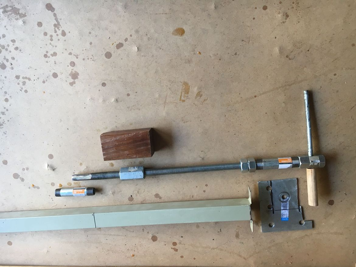 Vise hardware. Had to buy the threaded rod and connectors / nuts. The rest is junk though. No weld by necessity - it will be housed / run through hardwood set in the square tube.