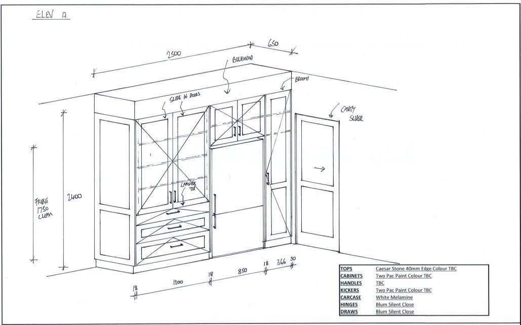 Appliance cupboard & fridge