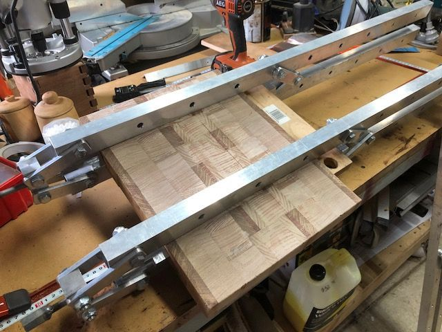 A cutting board I am currently making in the clamps